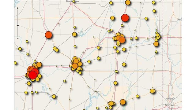 Map of central Illinois lottery winners